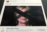 """A Facebook post showing a """"Down with Hillary"""" event, with a picture of Hillary Clinton crossed out in the thumbnail."""