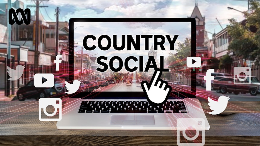 A graphic of a laptop in a country town street with social media logos and the title Country Social visible