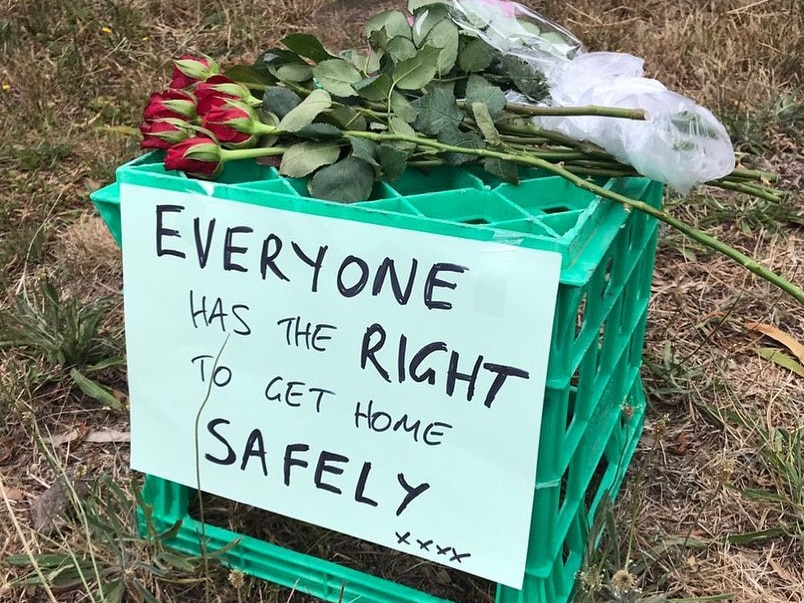 "A milk crate is seen with the sign ""Everyone has the right to get home safely"" at the site Aiia Maasarwe's body was found."