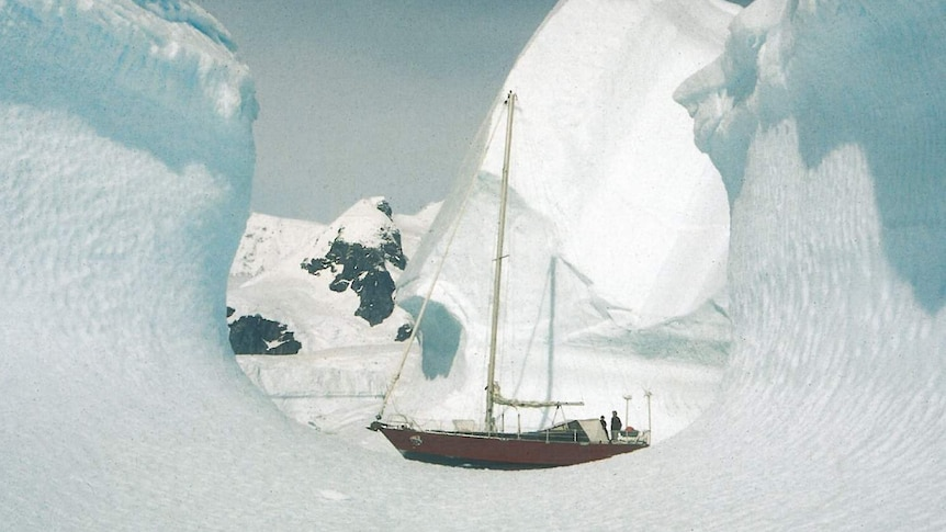 The yacht of Michele and Georges Meffre sailing through the ice in Antarctica.