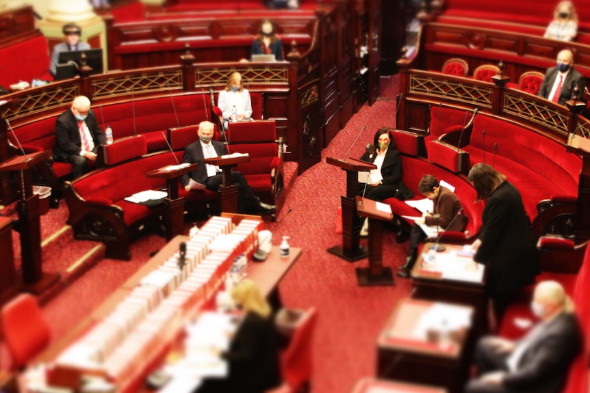 MPs wear mask in the red chamber of Parliament.