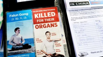 Falun Gong Pamphlets alongside signatures collected from passers-by on Swanston Street in Melbourne's CBD.
