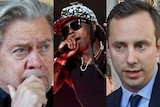 Composite image Steve Bannon looking concerned, LilWayne singing and Anthony Levandowski walking away from court house