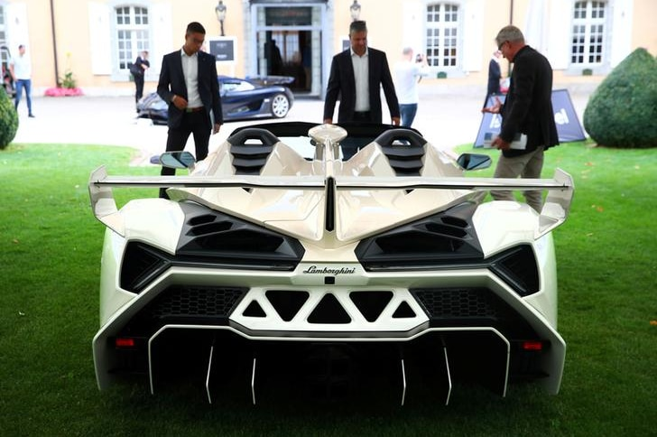 Lamborghini Veneno Roadster pictured during Bonhams auction preview on September 27, 2019