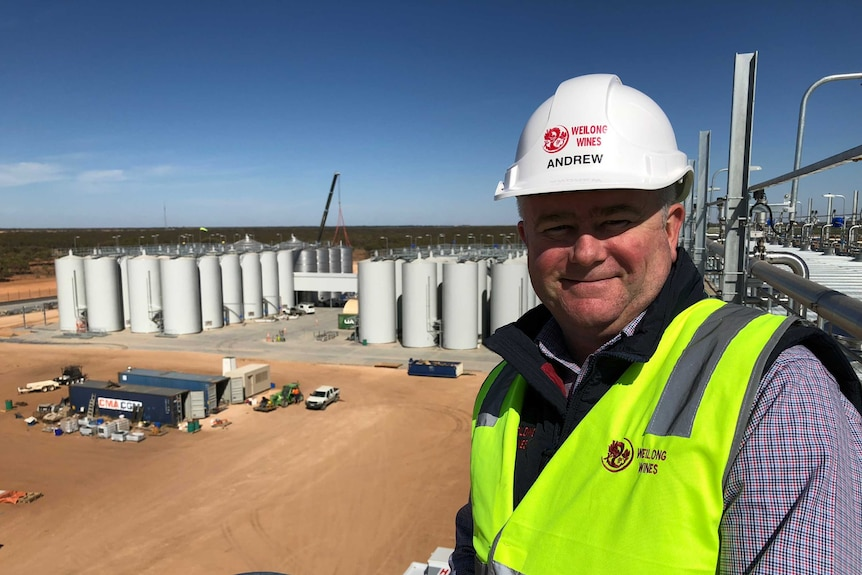 A man in a high vis vest and helmet overlooks a worksite with large storage vats for wine.