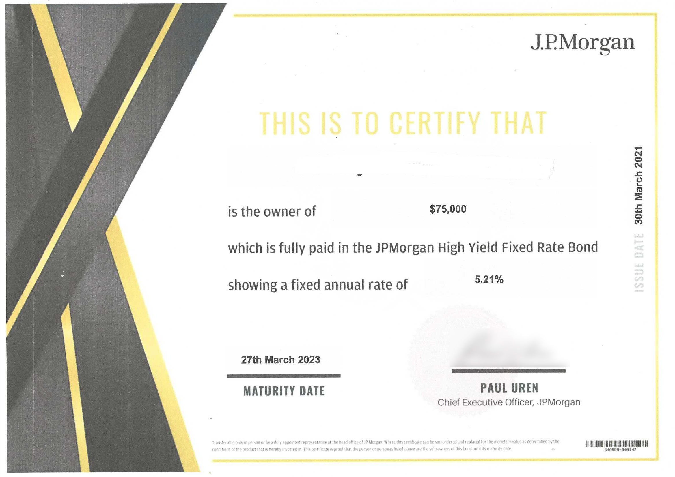 Picture of JP Morgan Bonds prospectus sent to Tony.