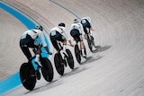 The german men's track cycling team in training at the Olympic velodrome