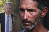 A montage of a close-up picture of a bearded man and an older man in a suit.
