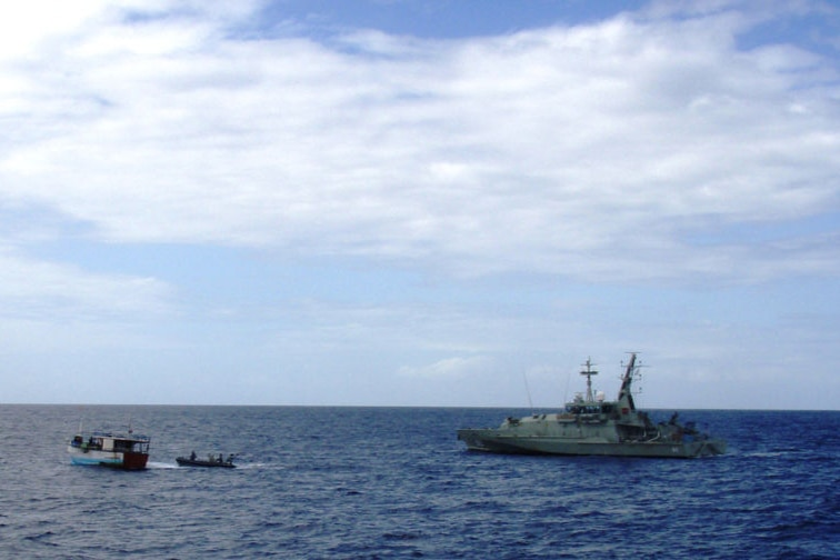 Keen to impress: Australian and Indonesian navies carry out combined patrols to secure the border (file photo)