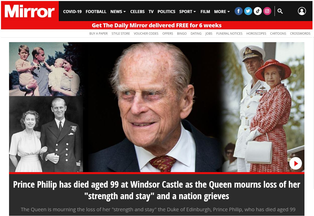 Daily Mirror website after the death of Prince Philip.