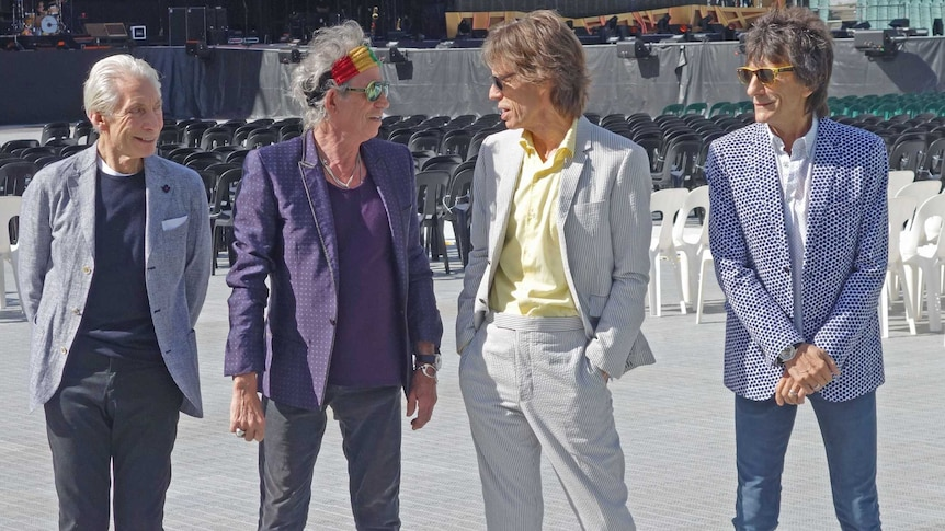 Stones check out the venue they will play in Adelaide on Saturday night