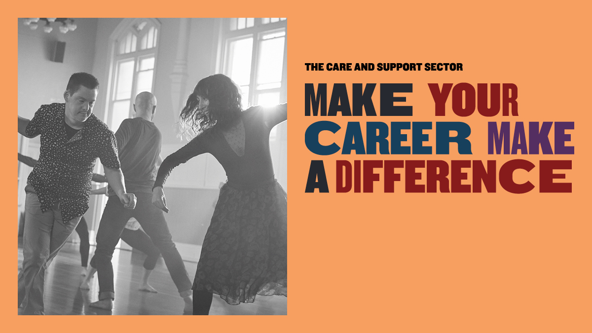 A black and white image of a man and woman dancing next to the words 'make your career make a difference'.