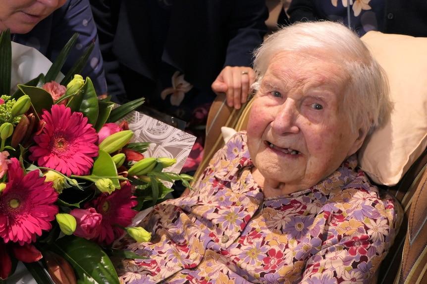 Joan smiling at birthday party