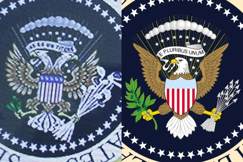 A composite image comparing the doctored presidential seal and official presidential seal.