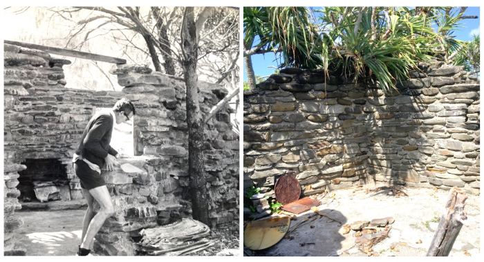On the left is a historical picture of a man building a brick house and on the right is a colour picture of structure's remains.
