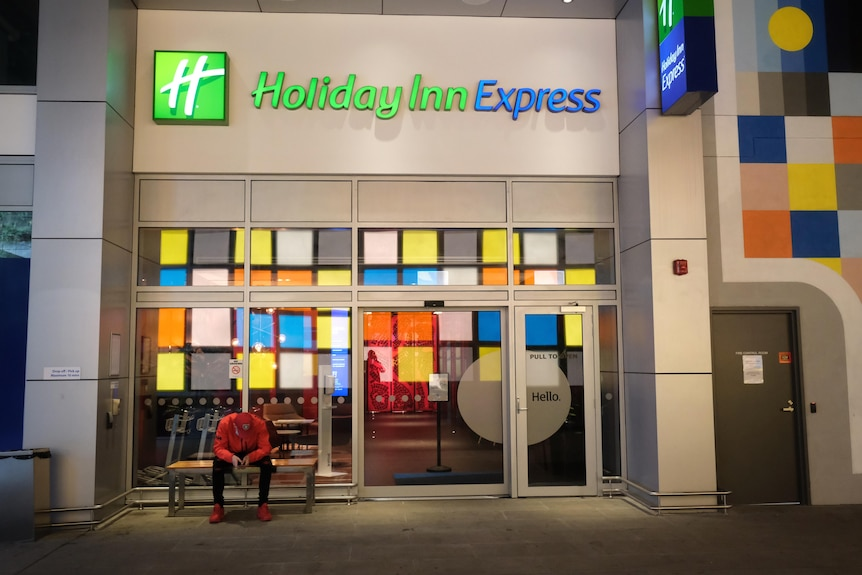 The colourful exterior of a Holiday Inn Express hotel.
