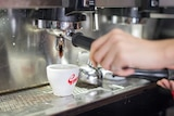 A cafe worker makes a cup of coffee.