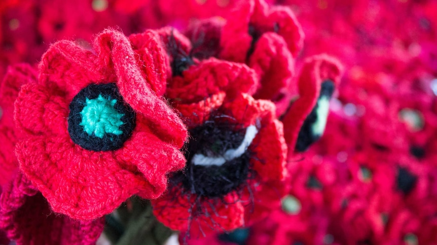 a bouquet of crochet red poppies
