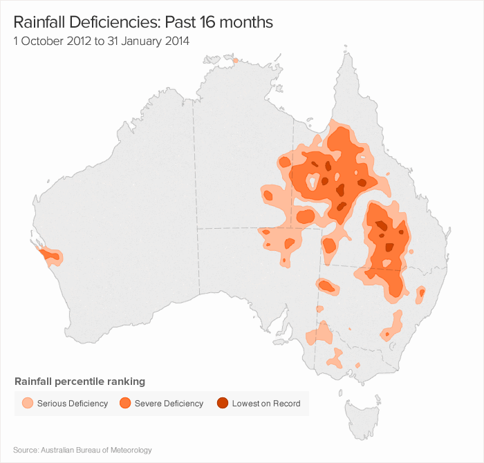 Australian regions that have experienced a deficiency of rainfall over the past 16 months.