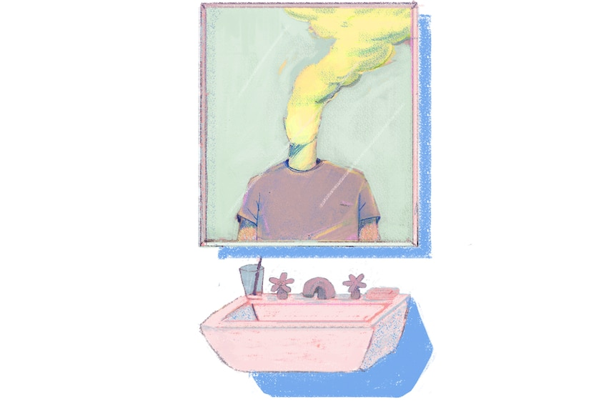 Illustration of a man's reflection on the mirror whose head is replaced by toxic fumes, representing toxic masculinity.