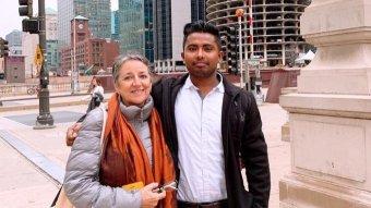 Faisal with his English teacher from Nauru