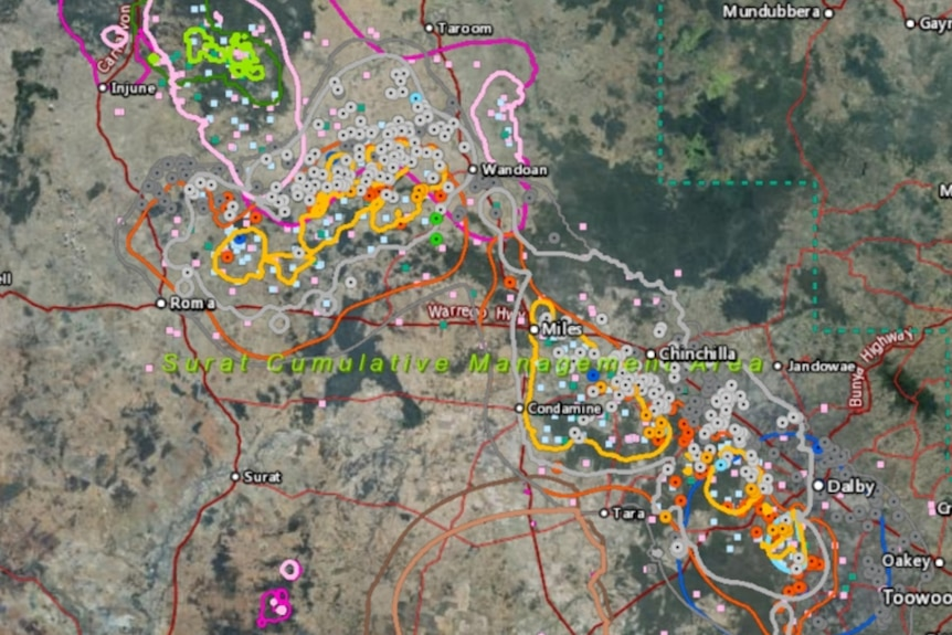 A coloured map of bores that will possibly be affected by CSG extraction in Queensland's Surat Basin.