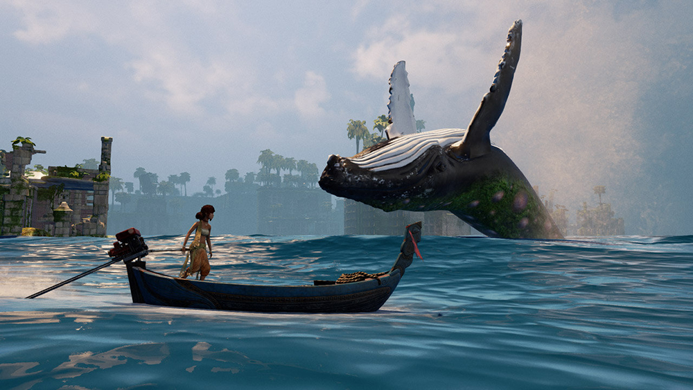 In a scene from a video game a girl stands in boat with outboard motor in flooded landscape and watches jumping whale.