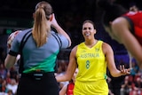 Australia's Liz Cambage reacts to an official during the women's basketball gold medal game