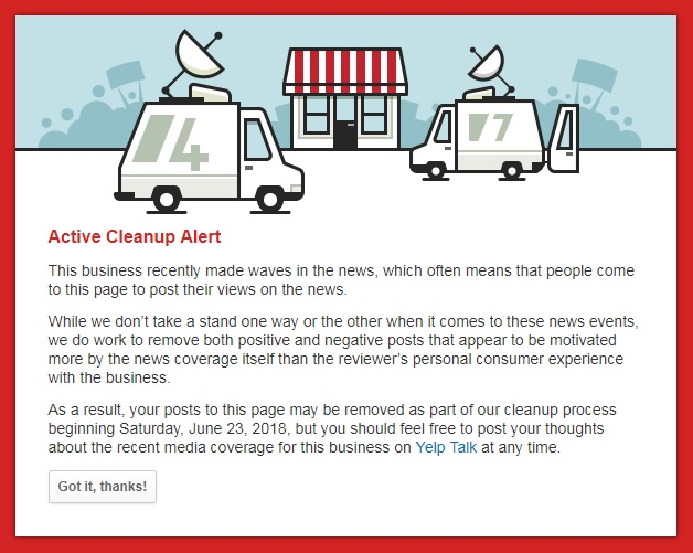 Yelp notice on Red Hen reviews.