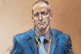 A courtroom sketch of a balding, middle-aged white man in a blue suit with serious expression.