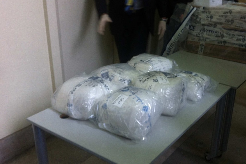 A quantity of methamphetamine seized in Melbourne on July 31, 2014.jpg