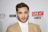 Actor Ed Westwick poses at the BAFTA Los Angeles Awards Season Tea Party in Beverly Hills, California.