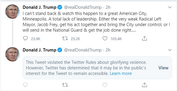 A screengrab of Donald Trump's tweet, with a message from Twitter saying it had been hidden