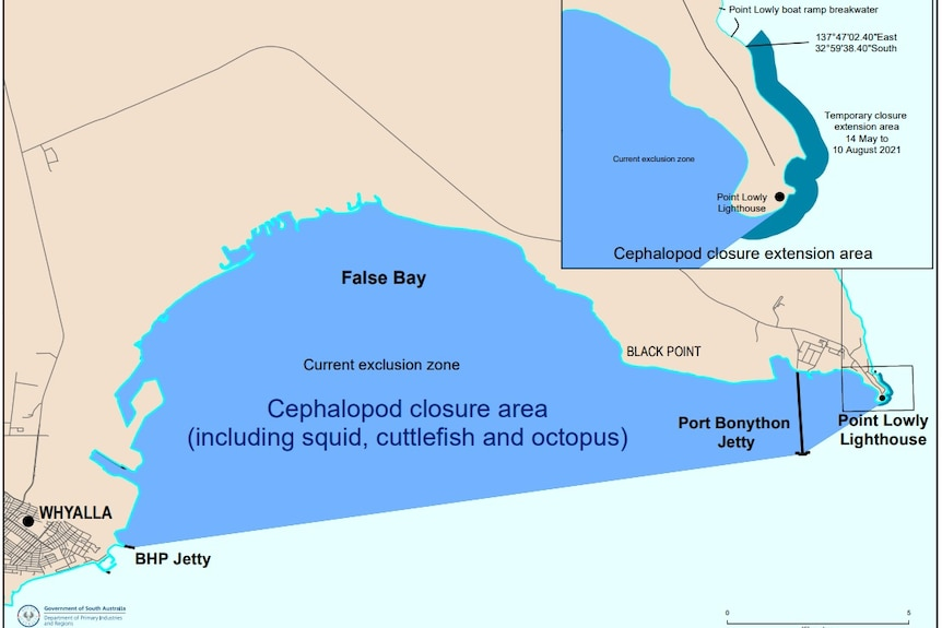 A map of a fishing exclusion zone.