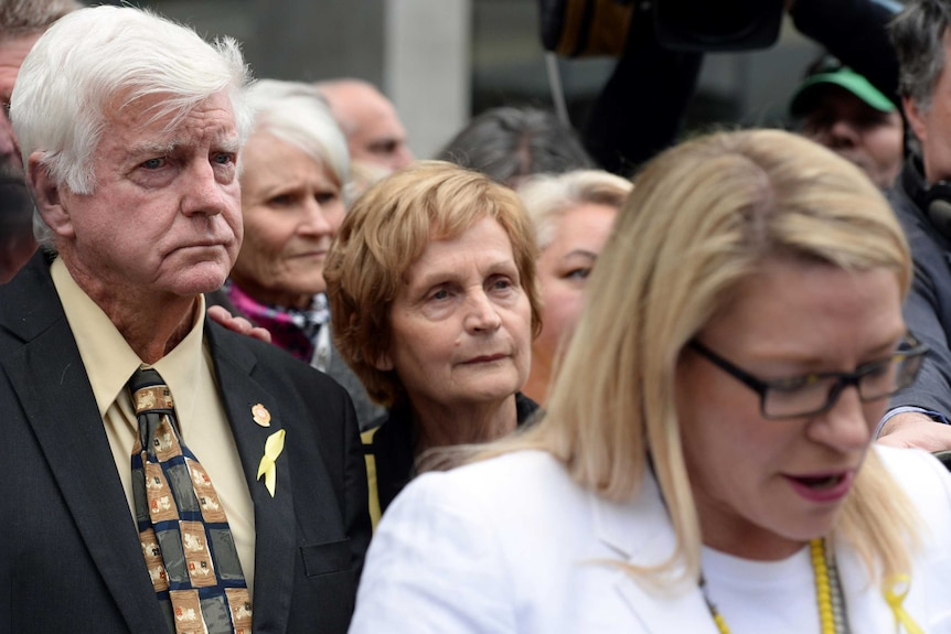 Parents of Alison Baden-Clay, Geoff and Priscilla Dickie, outside of the Supreme Court.