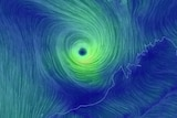 A blue and green map depicting wind speeds of Cyclone Veronica off the WA coast.