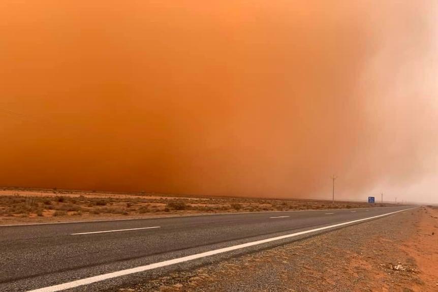 Red haze across road
