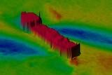 A sonar image of a shipwreck off the Pilbara coast.