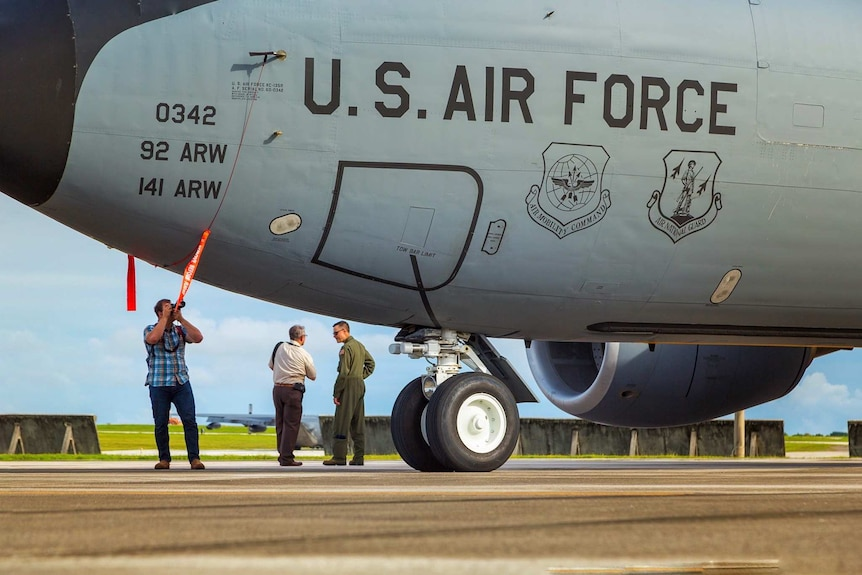 A Boeing KC-135 Stratotanker air-to-air refuelling aircraft at USAF Andersen air base on Guam.