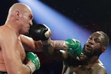 Deontay Wilder falls back as he is hit by Tyson Fury's left hook during their heavyweight title fight.