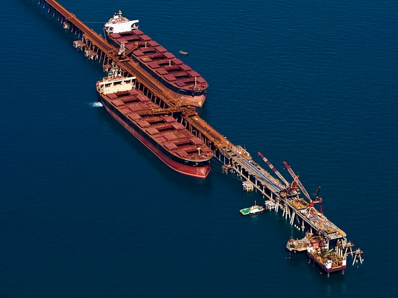 Cape Lambert iron ore shipments being loaded at Rio Tinto's facility.