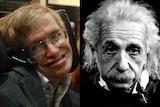 A composite image of Stephen Hawking and Albert Einstein.