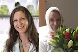 Left: A smiling woman with long hair in a lab coat. Right: The same woman has her head bandaged in hospital
