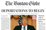 The front page of The Boston Globe imagining a Donald Trump presidency.