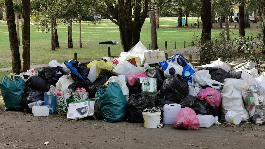 A pile of rubbish at a bush campsite