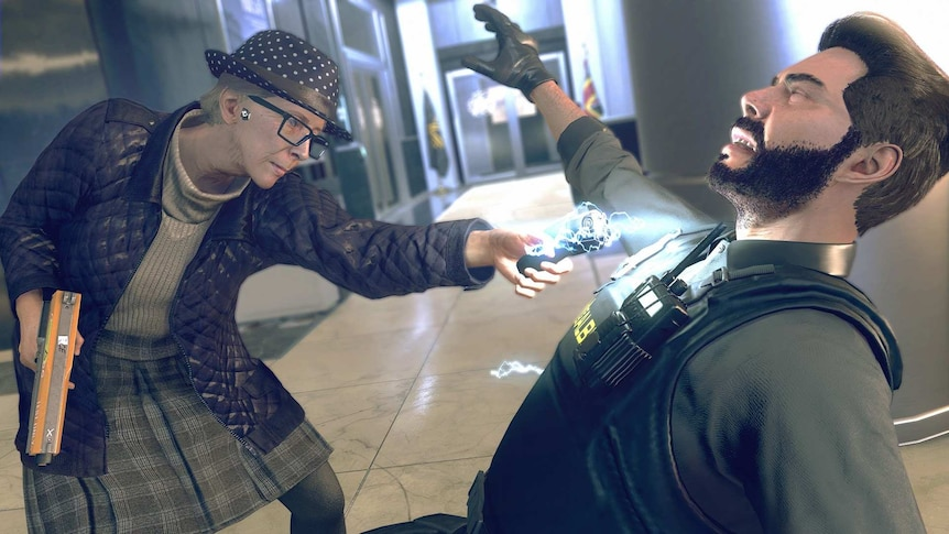 A screenshot from Watch Dogs Legion, showing an elderly character tasering a security guard.