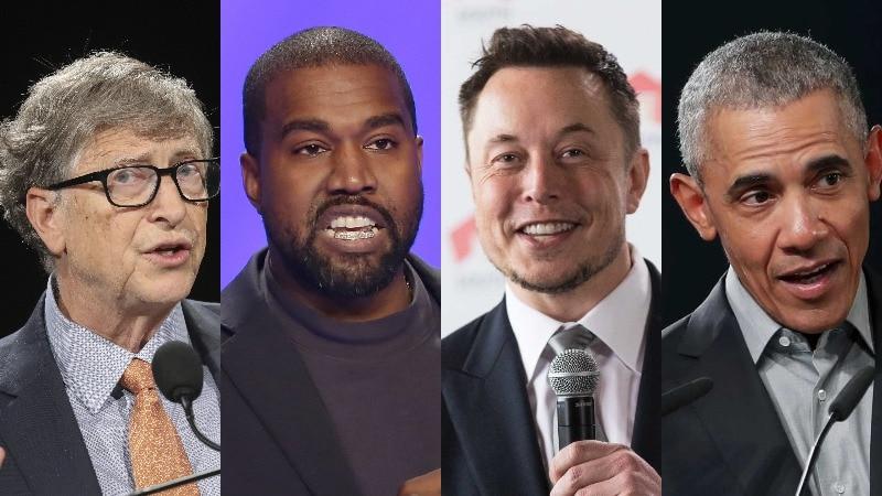 A composite image of Bill Gates, Kanye West, Elon Musk and Barack Obama.