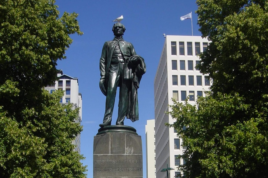 The statue of Christchurch's founding father John Robert Godley before it was toppled in the 2011 earthquake.