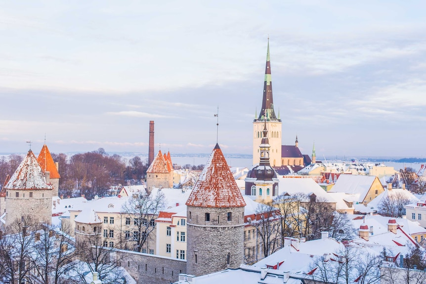 Rooftops covered in snow in Tallinn, Estonia