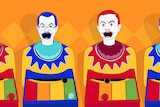 A cartoon of carnival clowns, with the faces of Scott Morrison and Anthony Albanese.